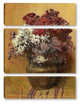 Модульная картина Натюрморт с Турецкой гвоздикой в медном горшке