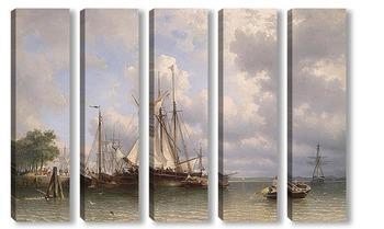 Модульная картина Парусные суда в гавани