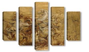 Модульная картина Львиная охота