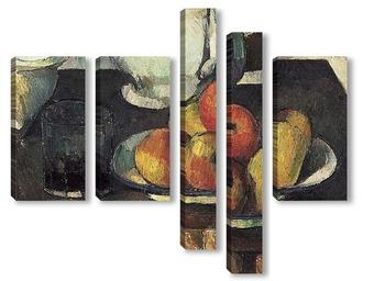 Модульная картина Натюрморт с яблоками и стаканом с вином