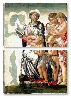 Модульная картина Мадонна с ребенком, Святым Иоанном и ангелами