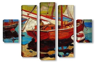 Модульная картина Рыбацкие лодки в гавани