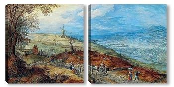 Модульная картина Пейзаж с путниками