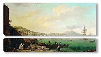 Модульная картина Вид на Неаполь и Везувий