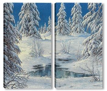 Модульная картина Снежный зимний лес в Шварцвальде