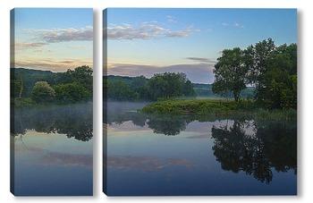 Модульная картина Летнее утро на реке
