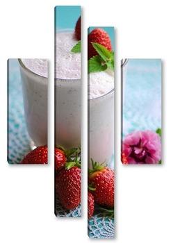 Модульная картина клубничный молочный коктейль с листочком мяты