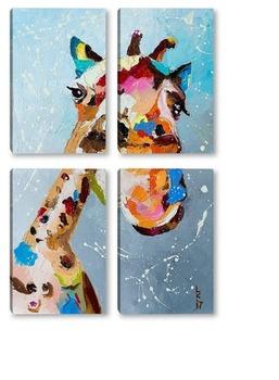 Модульная картина Смешной жираф