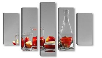 Модульная картина Яблоки за стеклом