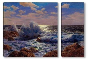 Модульная картина Восход Луны, Средиземноморье