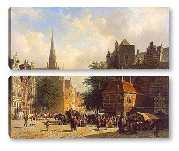 Модульная картина Базарный день в голландском городе