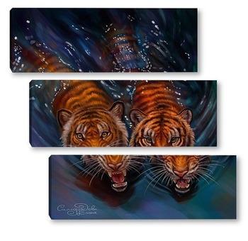Модульная картина Тигры в воде