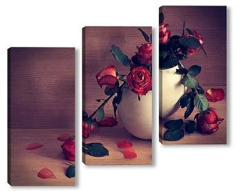 Модульная картина про красные розы