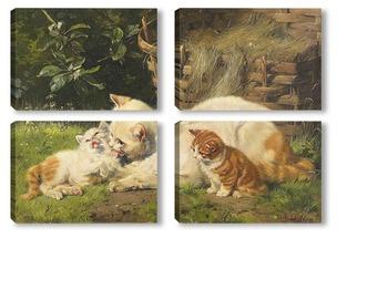 Модульная картина Кошка с котятами