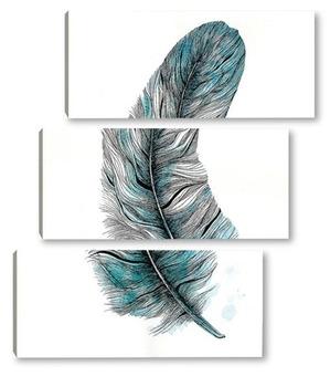 Модульная картина Лазурное перо