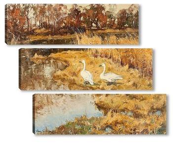 Модульная картина Пейзаж с двумя гусями, 1924