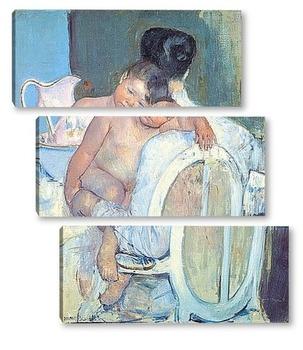 Модульная картина Сидящая женщина с ребенком и его рукой