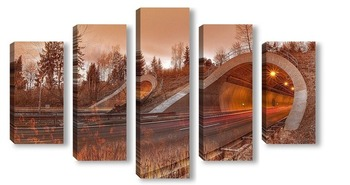 Модульная картина Дорога в тунель