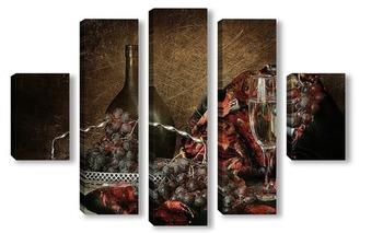 Модульная картина С черным виноградом