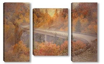Модульная картина Осенняя дорога