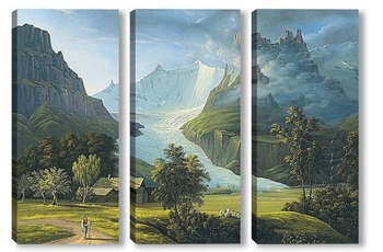 Модульная картина Ледник и горные вершины