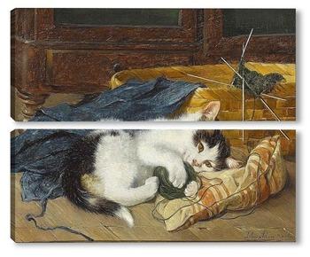 Модульная картина Играя с мячом шерсти ,котенок на голубом одеяле
