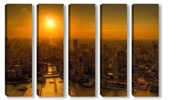 Модульная картина Вечерний Шанхай