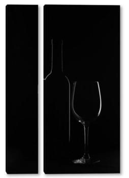 Модульная картина Бокал и бутылка