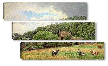 Модульная картина Ферма с пасущимися коровами