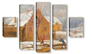 Модульная картина Зимний пейзаж с видом на село с лесорубами