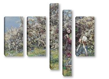Модульная картина Ягнята в цветах