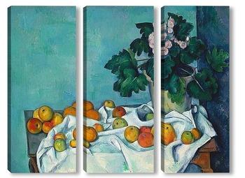 Модульная картина Натюрморт с яблоками и горшком с примулой