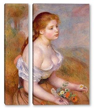 Модульная картина Молодая девушка с ромашками