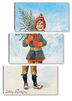 Модульная картина Мальчик с елкой.