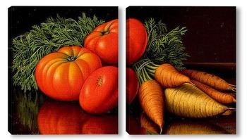Модульная картина Натюрморт с помидорами и морковью