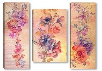 Модульная картина Роскошные цветы