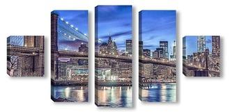 Модульная картина карусель у Бруклинского моста