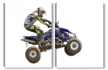 Модульная картина Мотогонщик на квадроцикле