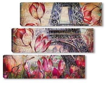 Модульная картина Эйфелева башня с тюльпанами