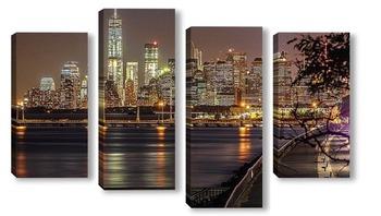 Модульная картина посиделки на набережной с видом на Манхеттен