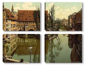 Модульная картина Больница Святого Духа, Нюрнберг, Бавария, Германия.1890-1900 гг