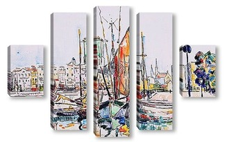 Модульная картина Дома и лодки в Ла Рошель.