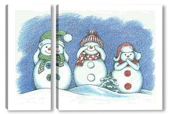 Модульная картина Три мудрых снеговичка