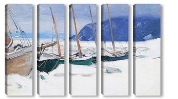 Модульная картина Шхуны в льдинах