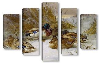 Модульная картина Зимний пейзаж с утками