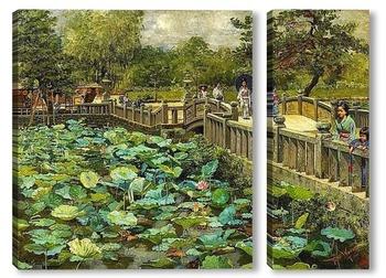 Модульная картина Пруд с лотосами, Сиба, Токио