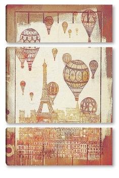 Модульная картина Париж с воздушными шарами