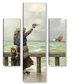 Модульная картина Рыбаки возвращаются на родину