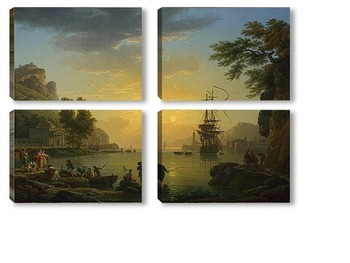 Модульная картина Пейзаж на закате