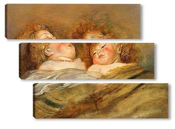 Модульная картина Два спящих младенца